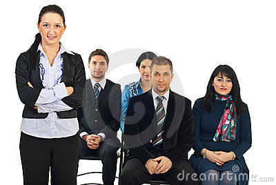 Executive woman in front of classroom