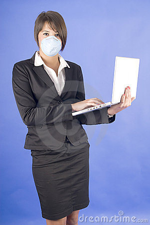 Executive woman with mask for swaine flu or others