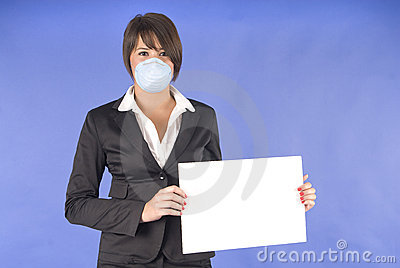 Executive woman with protective mask for swine flu