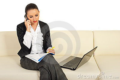 Executive woman speaking by phone mobile