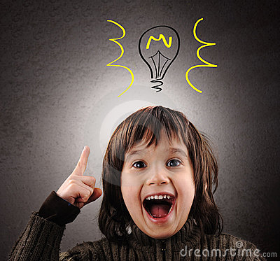 Free Exellent Idea, Kid With Illustrated Bulb Stock Photography - 18635172