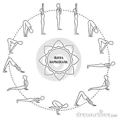 Exercice De Cycle Dans La Salutation Du Soleil De Yoga . 6e3d34ede57