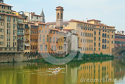 Exercise on the Arno River Editorial Stock Image