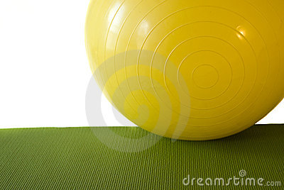 Exercise Ball on excercise mat