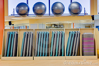 Exercise balls and aerobic steps in gym