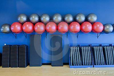 Exercise balls, stretching mats and aerobic steps