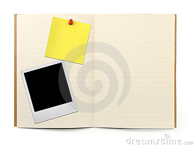Exercise book with photo frame and yellow note