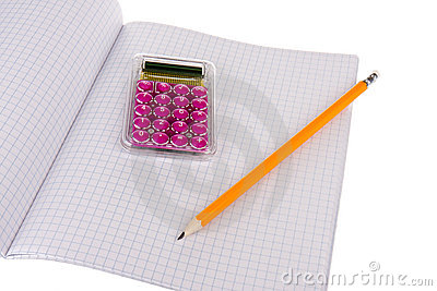 Exercise book with wooden pencil and calculator