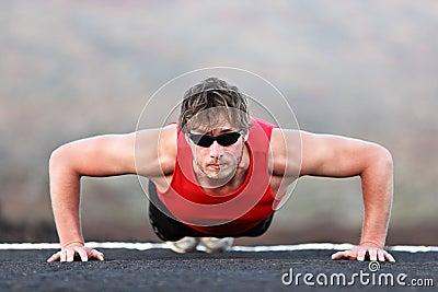 Exercise man training push ups