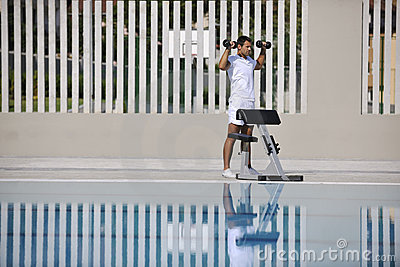 Exercise at poolside