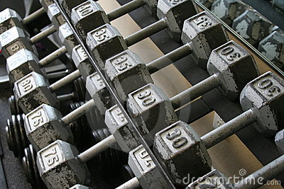 Exercise weights in rack