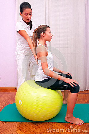 Exercises control basin trunk with bobath ball fitball stabiliza
