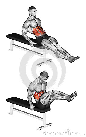 Free Exercising. Double Twist On The Bench Stock Image - 56773831