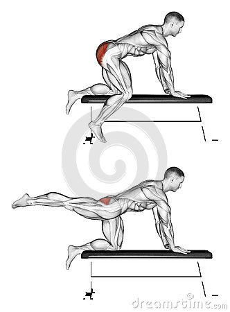 Free Exercising. Foot Moves Back To The Bench Stock Photography - 43689052