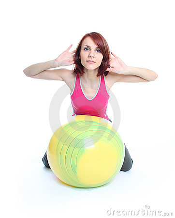 Exercising with a pilates ball