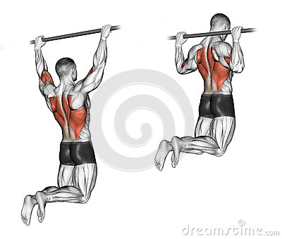 Exercising. Pull-ups on the bar, touching the back