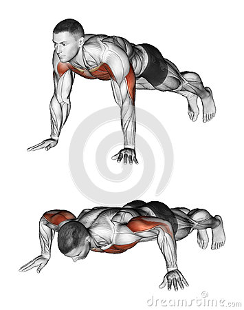 Exercising. Pushups