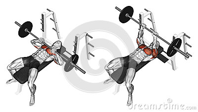 Exercising. Rod narrow grip bench press, lying on