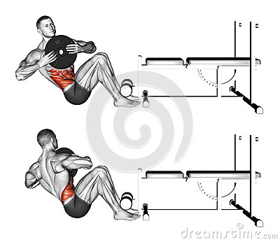 Exercising. Russian twist Stock Photo