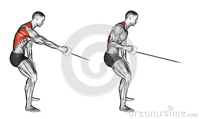 Exercising. Standing one arm cable row Stock Photo