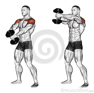 Free Exercising. Ups Of Hands Forward With One Dumbbell Stock Images - 43667084