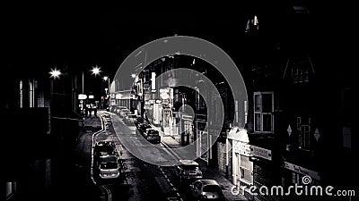 Exeter, Zuidenstraat bij nacht stock videobeelden