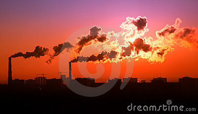 Exhaust smoke / Air pollution / Sunrise