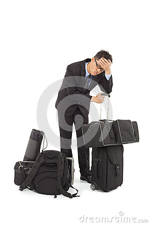 Exhausted businessman is too tired