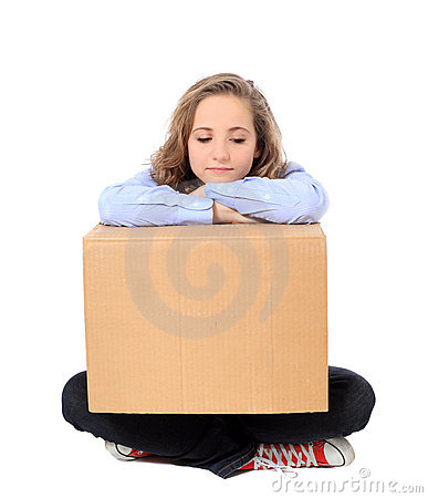 Exhausted girl with moving box