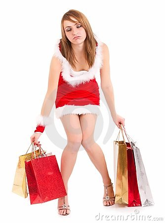 Exhausted woman christmas shopping