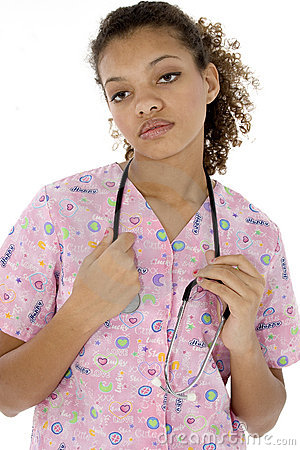 Exhausted Young Black Nurse in Scrubs over White
