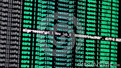 Exhibición de consola del proceso de la explotación minera de Cryptocurrency almacen de video