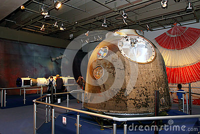 Exhibition on China s Manned Space Docking Mission Editorial Photo