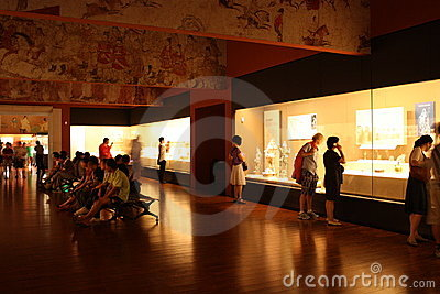 Exhibition hall in a Museum of History Editorial Stock Image