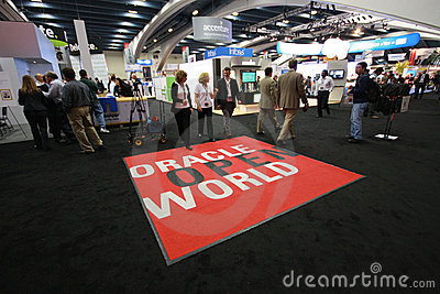 Exhibition hall at Oracle OpenWorld conference Editorial Stock Image