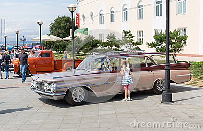 Exhibition of old American classic cars in Vladivostok. Editorial Photo