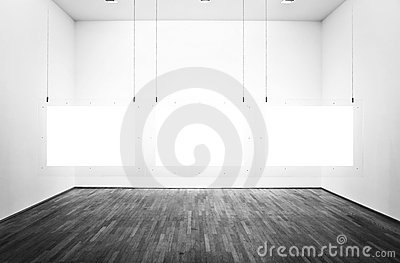Exhibition room with pictures and white background
