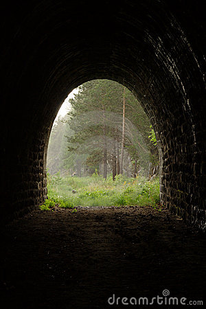 Exit from abandoned tunnel to the rainy forest