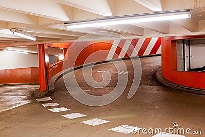 Exit ramp in parking garage