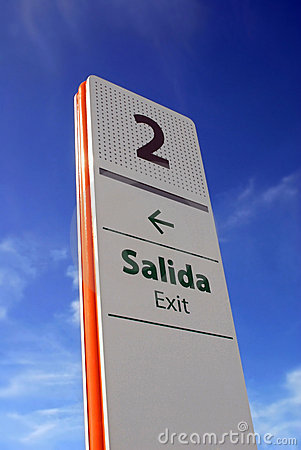 Exit signpost at airport