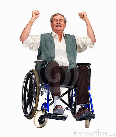 Exited older man sitting isolated on a wheelchair