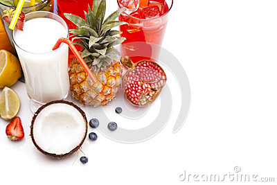 Exotic alcohol drinks set with fruits top view