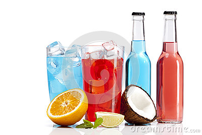 Exotic alcohol drinks set with orange and coconut