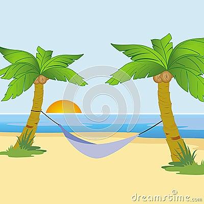 Exotic beach at sunrise
