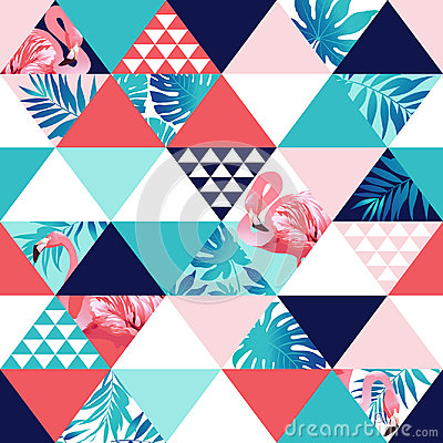 Free Exotic Beach Trendy Seamless Pattern, Patchwork Illustrated Floral Tropical Banana Leaves. Royalty Free Stock Image - 95245916
