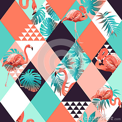 Free Exotic Beach Trendy Seamless Pattern, Patchwork Illustrated Floral  Tropical Banana Leaves. Stock Image - 95286811