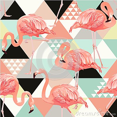 Free Exotic Beach Trendy Seamless Pattern, Patchwork Illustrated Floral Vector Tropical Banana Leaves. Jungle Pink Flamingos Stock Photography - 108447982