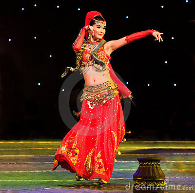 Exotic belly dance with snake Editorial Photo