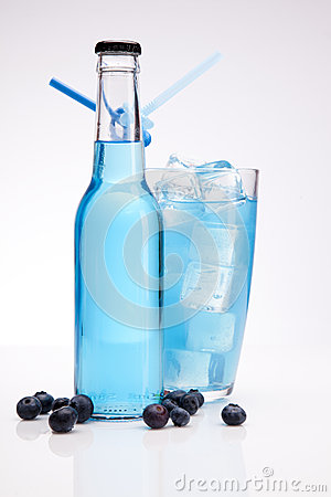 Exotic blue bottle alcohol cocktail
