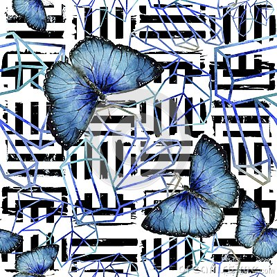 Free Exotic Butterflies Wild Insect In A Watercolor Style. Seamless Background Pattern. Royalty Free Stock Photo - 124217195